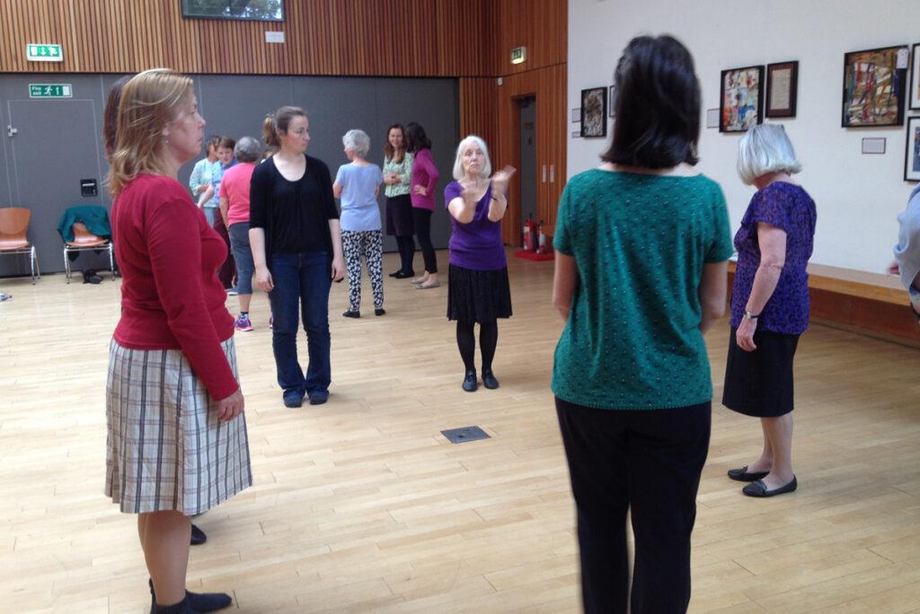 September 2017 LDA teaches quadrilles in Scottish Storytelling Centre